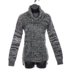 MY STYLE Cowl Neck Sweater High Low Drawstring